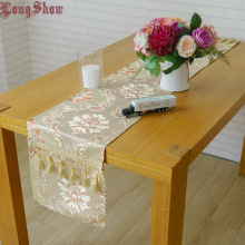 Household Hotel Banquet Decorative Classic Vintage Europe Jacquard Style Tassels Dark Gold Table Runner