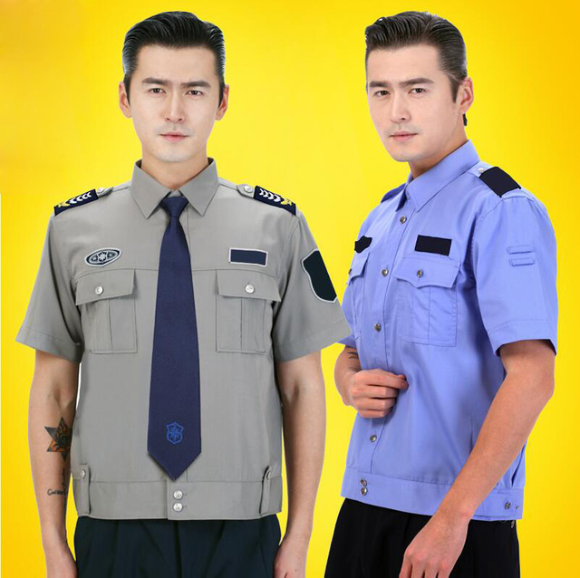 Residential property security clothing Airport Hotel officer uniform Gray  White Blue security guard Summer Short Sleeve uniform 6000fdb2ae35