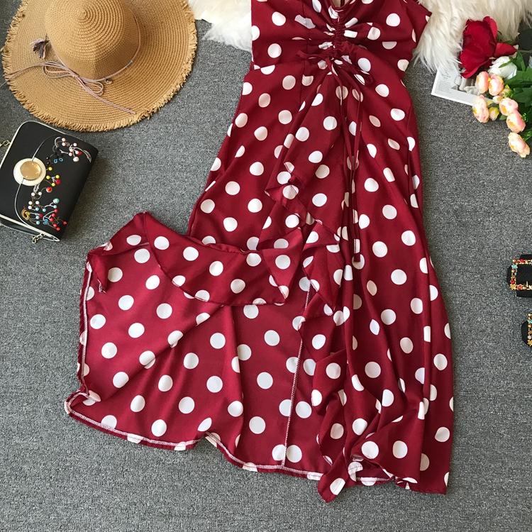 Women Beach Red Dress 2019 Summer New Seaside Holiday Sleeveless Dot Print Casual Vestidos E496 54