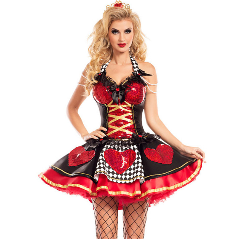 2018new sexy queen of hearts costume luxurious evening gowns cosplay Dress adult princess halloween clothing for women