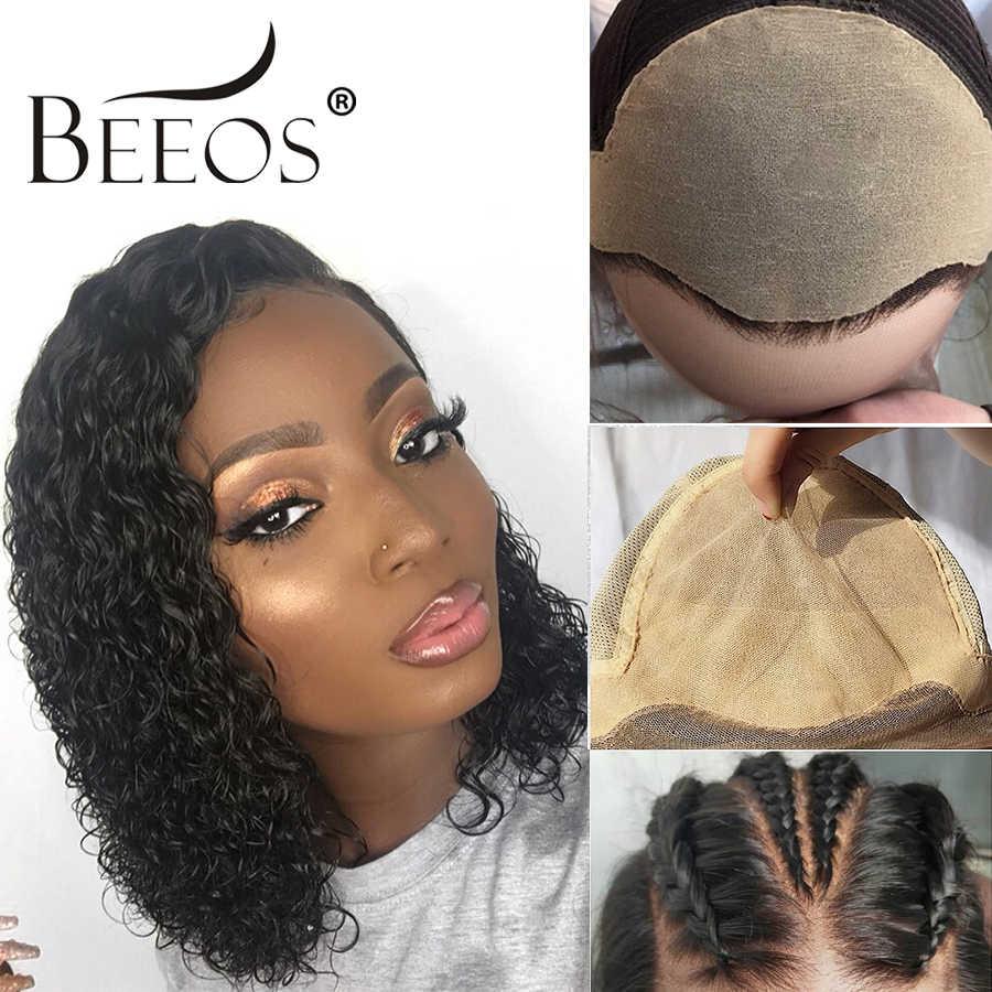 Beeos невидимые поддельные волосы на коже головы, вьющиеся 13*6 человеческие волосы на кружеве, парики с волосами младенца, бразильские волосы remy, короткие кудрявые парики Боба