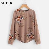 SHEIN Flower Print Keyhole Back Curved Hem Blouse Autumn Women Blouses Long Sleeve Multicolor Floral Work