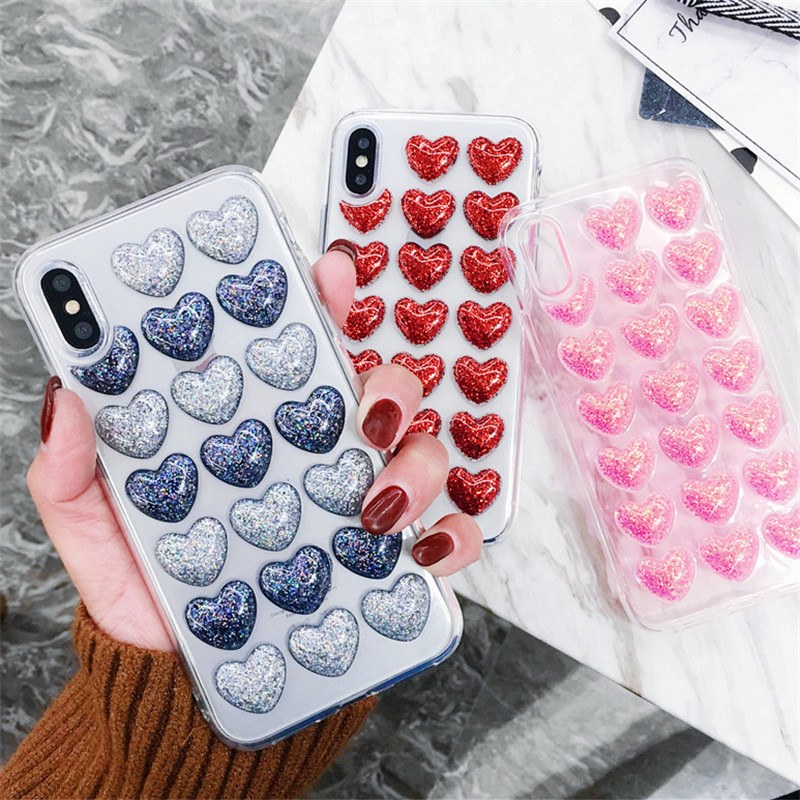 Bling Glitter Heart Glue Silicon Body Iphone X 8 7 6 6S Plus 5 5S Back Cover Loves Sequins Soft Silicone Cases