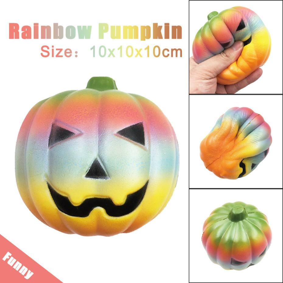 Exquisite Fun Rainbow Pumpkin Scented Squishy Charm Slow Rising 10cm Kids Toy Girls kids gift Adults relieve stress