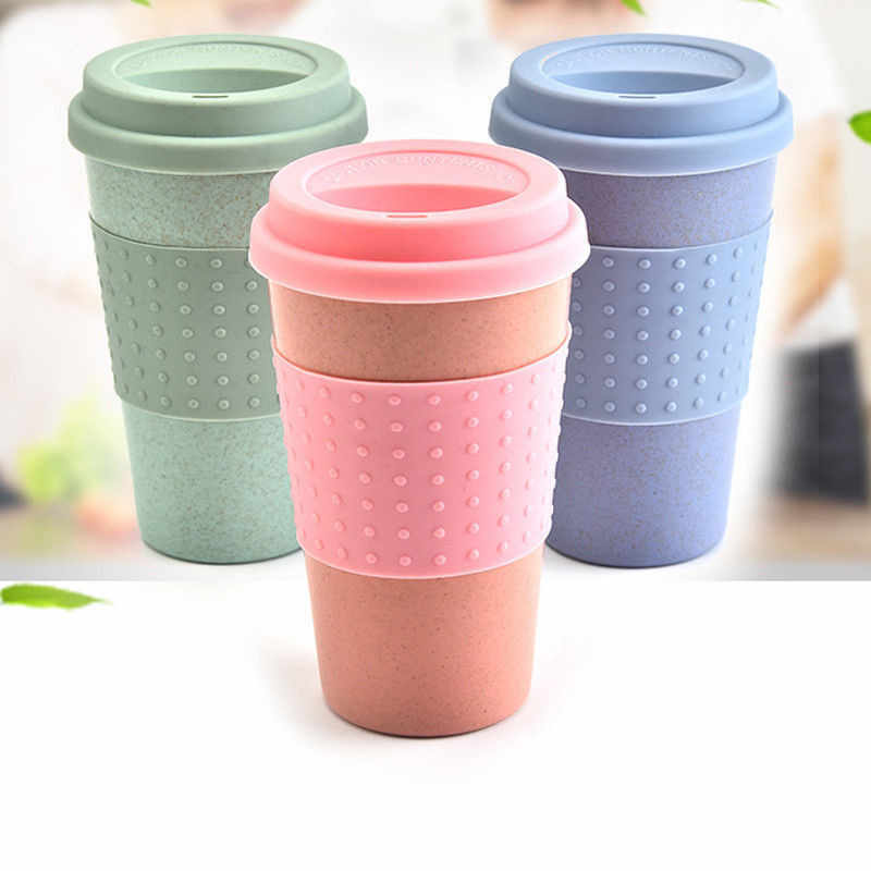 Travel Portable Pink Blue Green Polka Dot Thermal Insulated Tea Coffee Mug Cup Reusable Bamboo Fibre Eco Friendly Travel Mugs