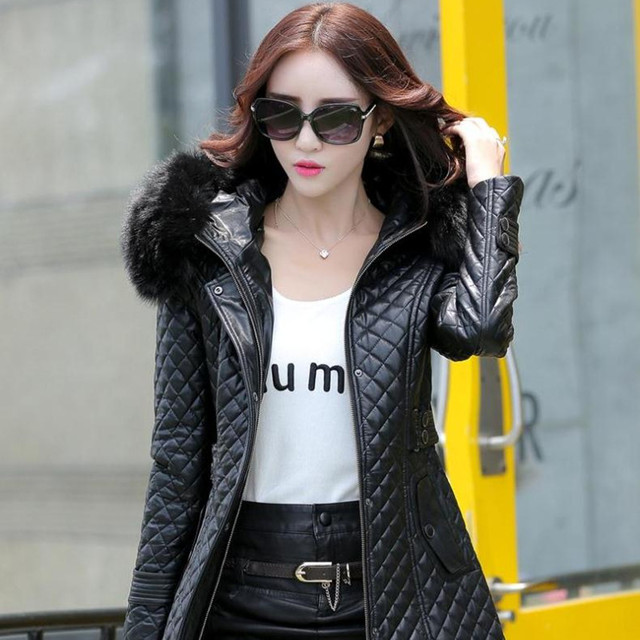 autumn and winter PU water washed leather clothing female medium-long plus size female slim trench outerwear plus cotton