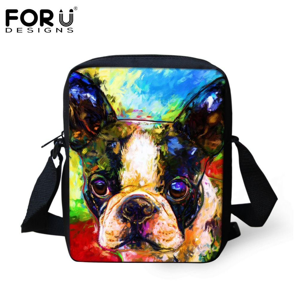 FORUDESIGNS Vintage Women Messenger Bags Cute Animal Dog Painting Baby Girls Boys Crossbody Bag Shoulder Bag For Kids Mochila