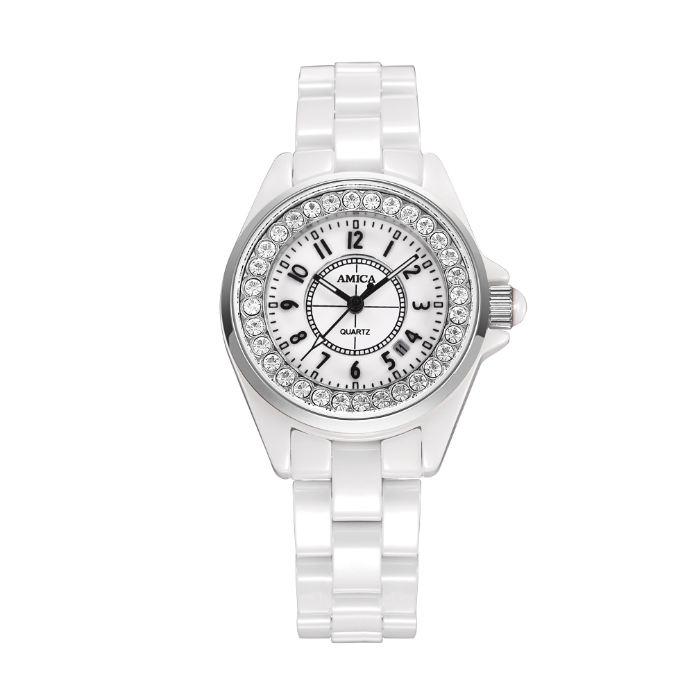 Amica Women's D-Ceramics Quartz Sapphire Silver Tone Stainless Steel Surface Crystal Ceramic Watchband Wrist Watches A5-5 amica women s d ceramics quartz sapphire silver tone stainless steel wrist watches a 1 5
