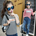 Kids T-Shirts For Girls Clothes Long Sleeve Cotton Girls Tees Children Clothing Letter Striped School Uniforms 4 6 8 10 12 Years