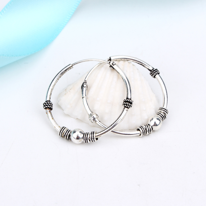 1pair 24mm Bohemian Vintage Color Circle Hoop Earrings for Women Simple Earrings Hook Pierced Cuff Brincos Bijoux Jewelry