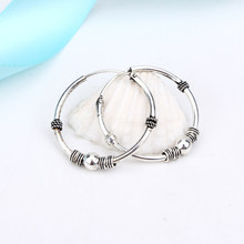 1pair 24mm Bohemian Vintage Silver Color Circle Hoop Earrings for Women Simple Earrings Hook Pierced Cuff Brincos Bijoux Jewelry(China)