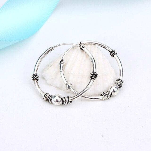 1pair 24mm Bohemian Vintage Silver Color Circle Hoop Earrings for Women Simple Earrings Hook Pierced Cuff Brincos Bijoux Jewelry
