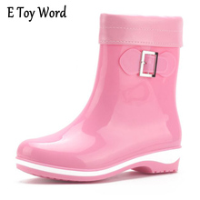 E игрушки слово Для женщин из ПВХ до середины икры непромокаемые Сапоги и ботинки для девочек Нескользящие квадратный каблук женские резиновые сапоги зимние женские водонепроницаемые туфли ZM17