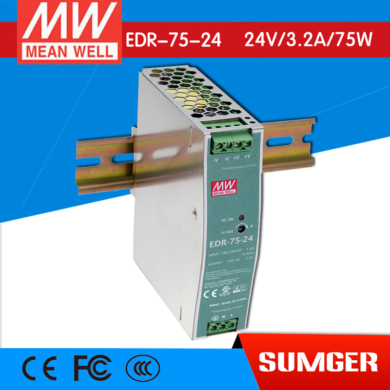 ФОТО [Freeshiping 2Pcs] MEAN WELL original EDR-75-24 24V 3.2A meanwell EDR-75 24V 76.8W Single Output Industrial DIN RAIL