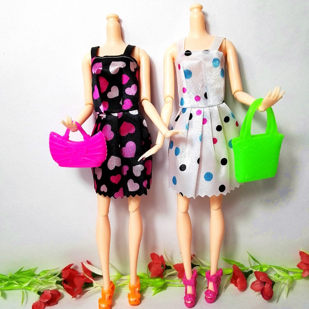 22-Pcs-12Handmade-Mini-Dress-Doll-Clothes-Short-Skirt-5-Doll-Bag-5Accessories-Shoes-Dollhouse-For-Barbie-Doll-Kid-Toy-Gift-5