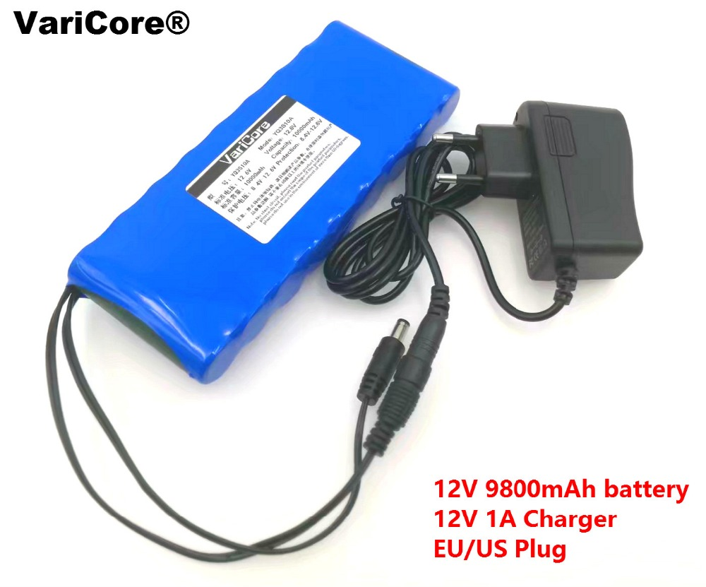 все цены на 12 v 9.8Ah 9800mAh 18650 Rechargeable batteries 12V Li-Ion Battery pack Protection Board CCTV Monitor battery +12.6V 1A Charger онлайн