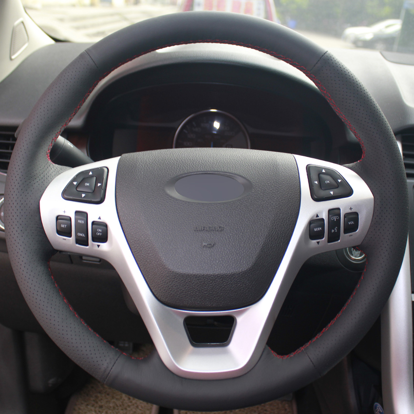 aliexpresscom buy black leather hand stitched car steering wheel cover for ford explorer 2011 2016 taurus 2012 2015 edge 2011 2014 from reliable car