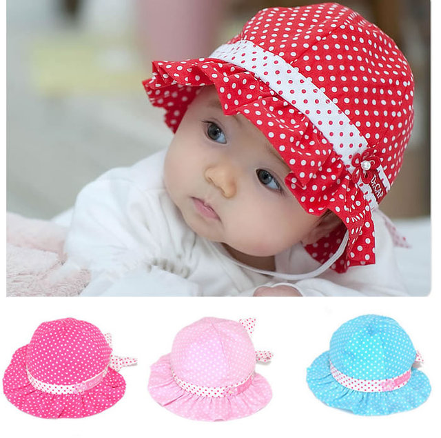Toddler Baby Girls Infant Kids Bucket Dot Hat Fashion Wholesale Bow Cap  Enfant Beanie Bonnet Newborn Photography Props Headwear 5a07a0a65602