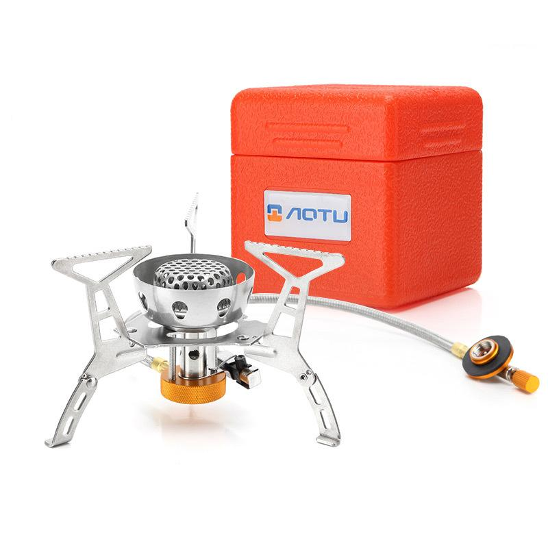 WOEN AT6309 B camping With electronic ignition Windproof stainless steel Gas stove Outdoor stove Power: 3200W-in Outdoor Stoves from Sports & Entertainment
