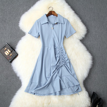 Casual Dress Summer Women 2019 Turn Down Collar Short Sleeves Solid Color Slim Drawstring Pleats Mermaid Dress Above The Knees dress summer woman 2019 new turn down collar batwing sleeves solid color slim drawstring waist a line casual dress midi s xl