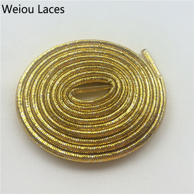 Offical Weiou Gold/Silver Metallic Rope Laces Flashing Shoelaces Glitter Pearlized Sparkle Shoe Laces For Dress Shoes Women