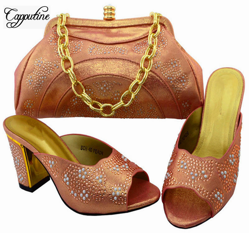 Capputine 2017 Nigerian Rhinestone Pumps Shoes And Bag Set Fashionable Design High Heels Shoes And Purse Set For Party BCH-40 capputine new arrival woman shoes and bag set nigerian design high heels shoes and bag sets for party free shipping bch 40