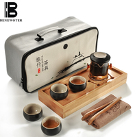 Travel Teaware Set Chinese Kung Fu Tea Set Home Office Outdoor Portable Travel Teaware Sets Ceramic Teacup Teapot for Gifts