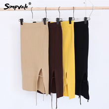 SIMPVALE paquete cadera Falda de punto mujeres de Color sólido elástico  lana lápiz falda señora Side 184265be0c25