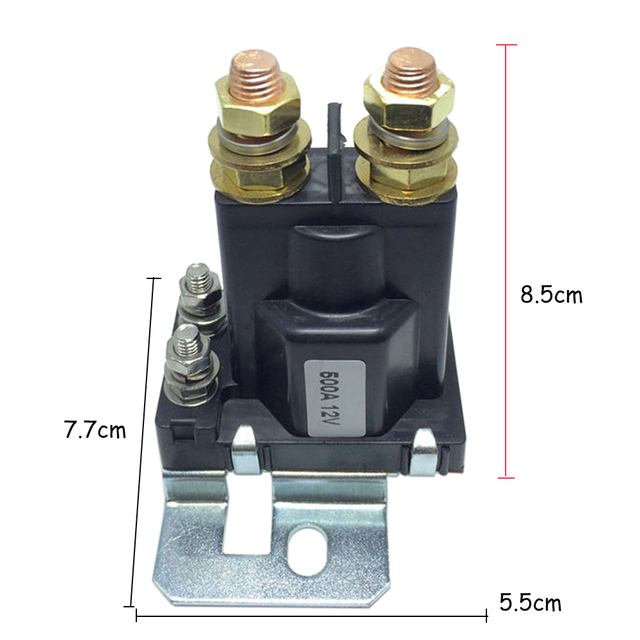 12VDC 500A AMP Heavy Current 4 Pin SPST Car Auto Start Relay Contactor Double Batteries Isolator Off On Control