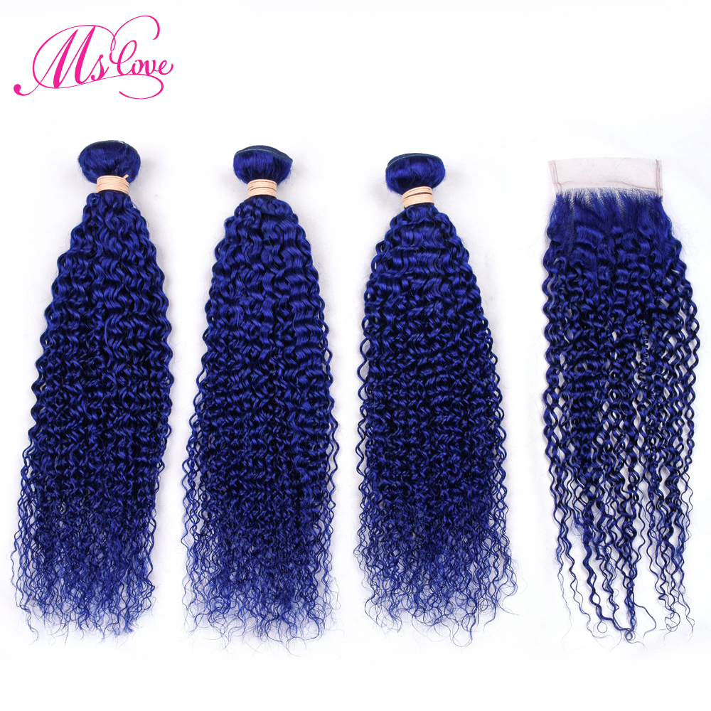 Ms Love Pre Colored Blue Kinky Curly Bundles With Closure Peruvian Hair Bundles With Closure Remy Human Hair Extensions