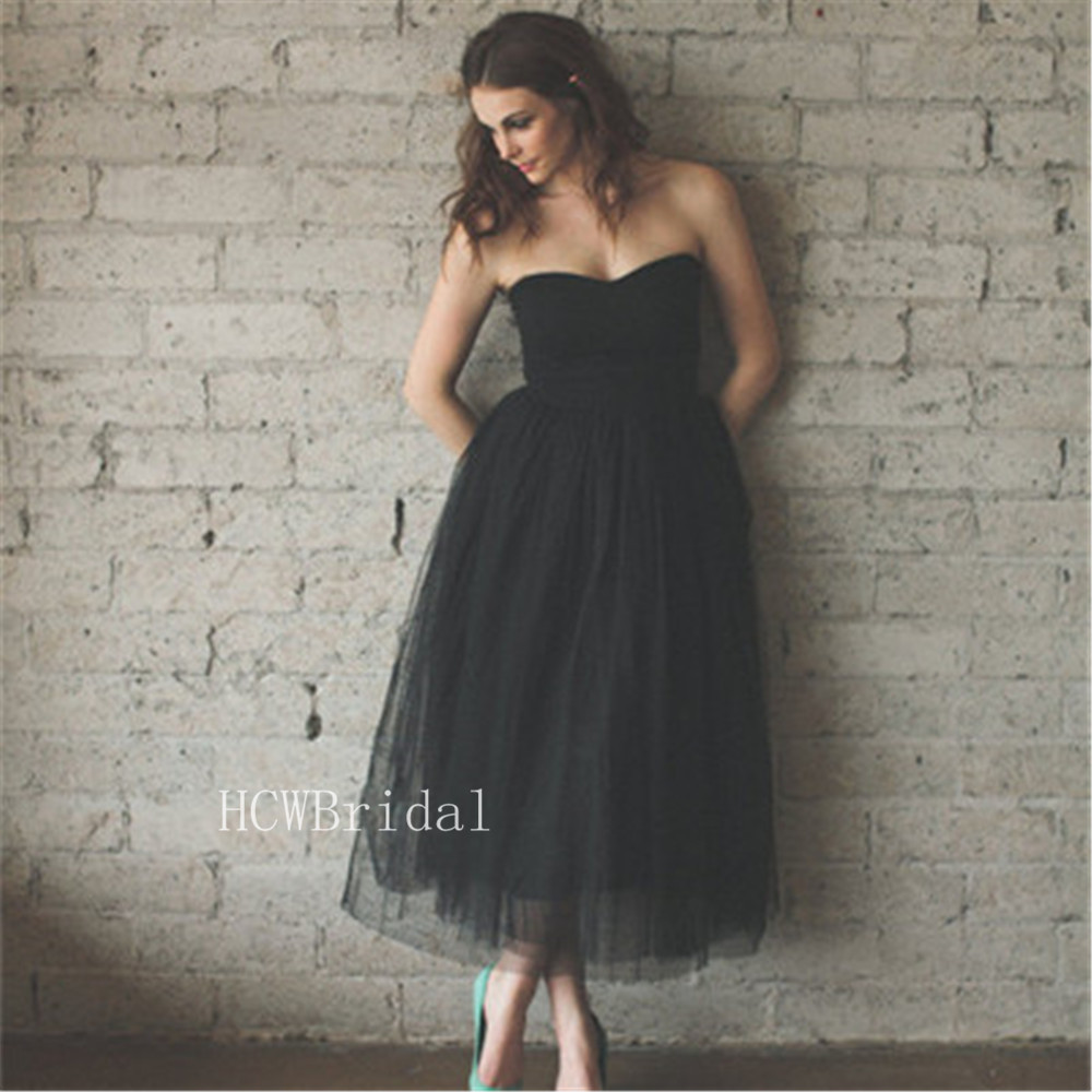 Short Black Tulle   Prom     Dresses   Strapless A Line Ankle Length Simple Wedding Party Gown 2019 High Quality Vestido De Festa Curto