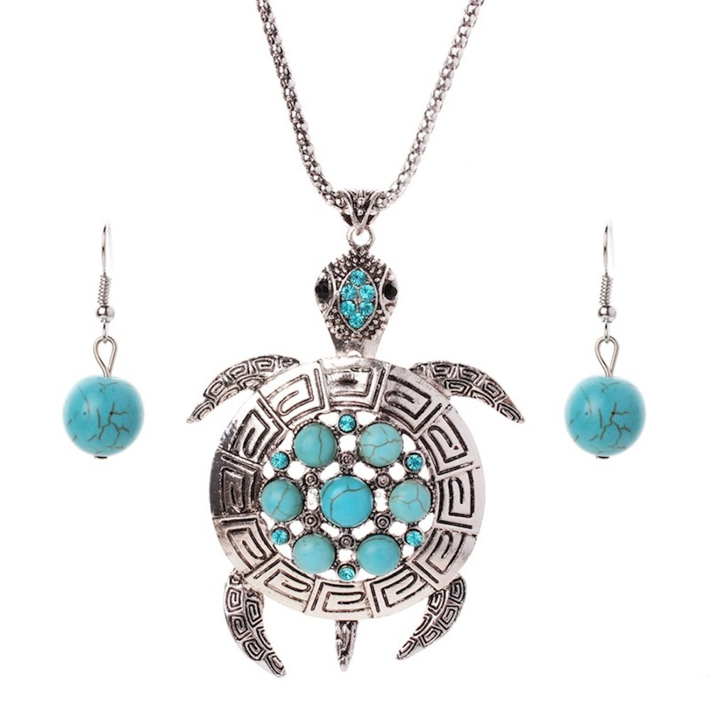Fashion Turquoise Jewelry Sets Silver Plating Chain Rhinestone Turquoise Turtle Pendant Necklace