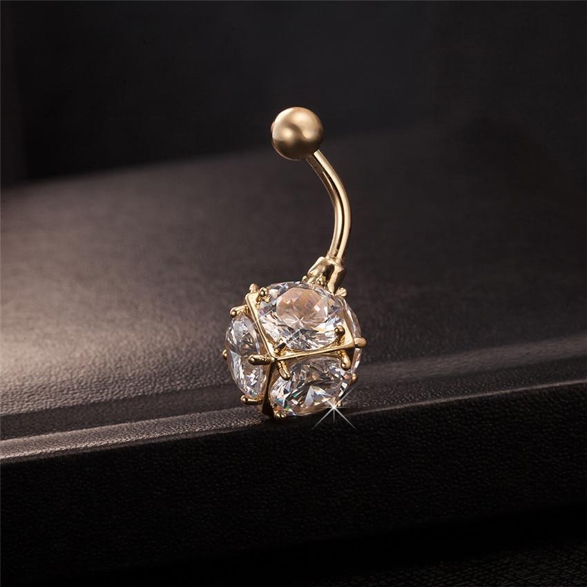 Gussiarro Magic Ball CZ Perhiasan Emas-warna Belly Button Rings - Perhiasan fashion - Foto 4