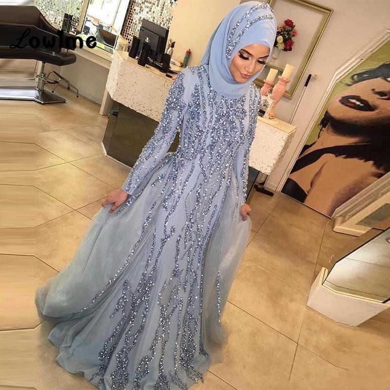 Silver Muslim   Evening     Dresses   2019 Mermaid Long Sleeves Tulle Crystals Islamic Dubai Saudi Arabic Long Formal   Evening   Gown Prom