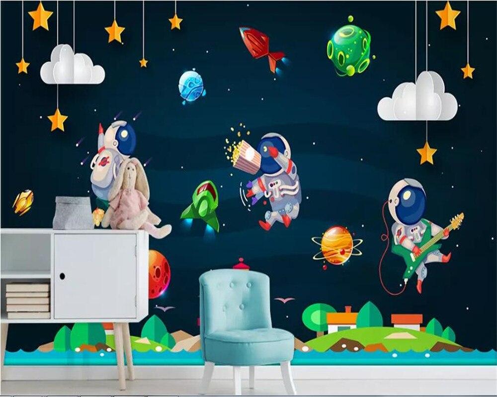 US $8 8 OFF Beibehang Kertas Dinding Rumah Dekorasi Kartun Digambar Tangan Astronot Planet Roket Latar Belakang Wallpaper Dinding Kertas Dinding
