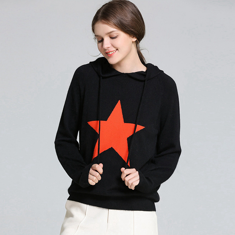 Hoode Sweater Women 35% Cashmere Blend Simple Design Long Sleeves 11 Colors Ladies Casual Pullovers Knitwear 2018 New Fashion
