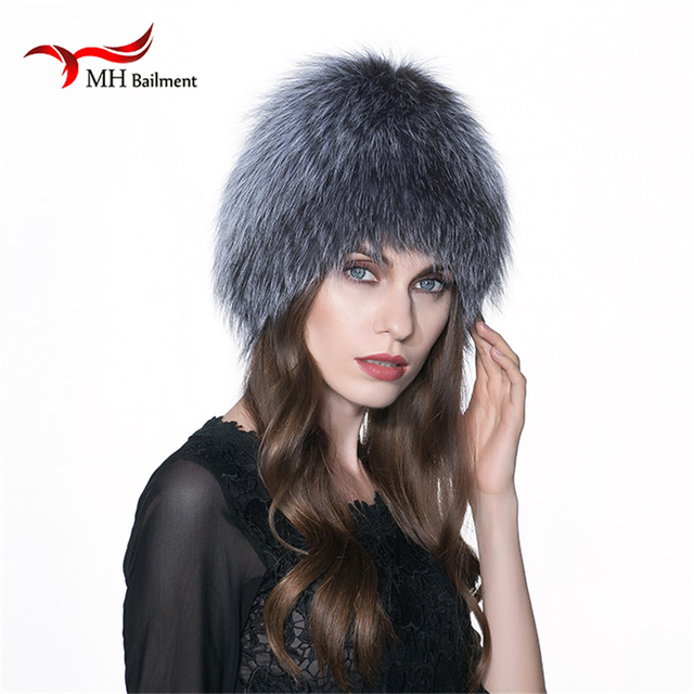 MH women winter fur hat genuine fox fur hats knitted silver fox fur caps female russian bomer caps W#13