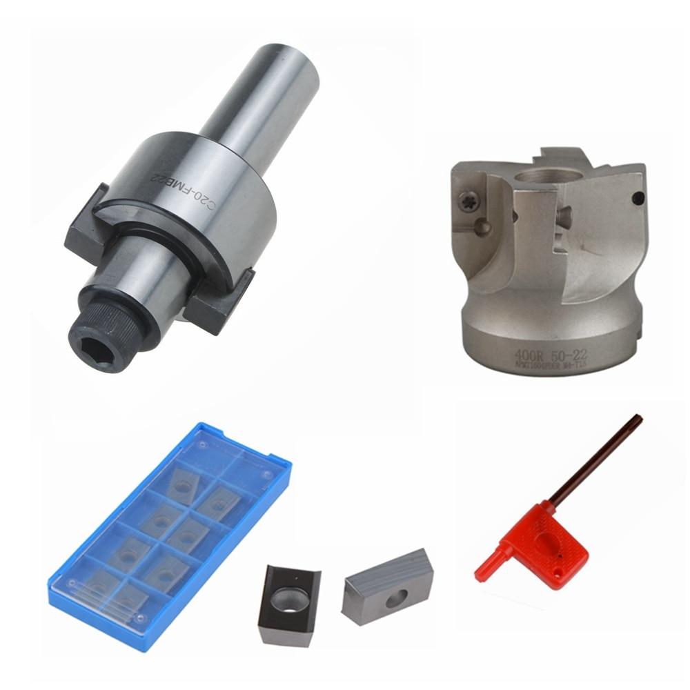 MT3-FMB22 Shank Extension Rod 400r-50-22 Face End Mill Cutter w//10pc APMT 1604