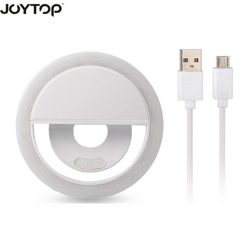 JOYTOP USB carga LED Selfie anillo de luz para Iphone iluminación suplementaria noche oscuridad Selfie mejora para el teléfono Luz de relleno