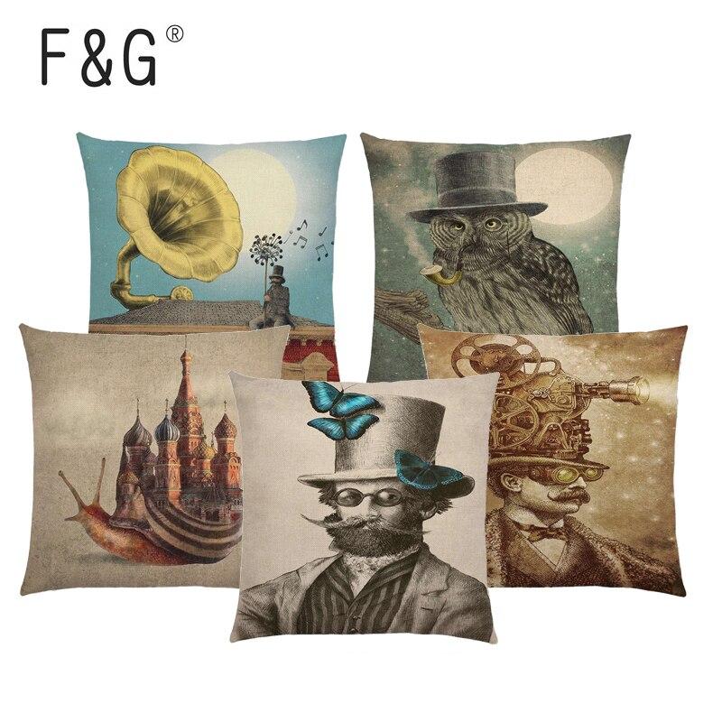 Cartoon Character Cushion Cover Balloon Submarine Telescope Steampunk Mechanical Gentleman Hat Owl Print Sofa Throw Pillowcase