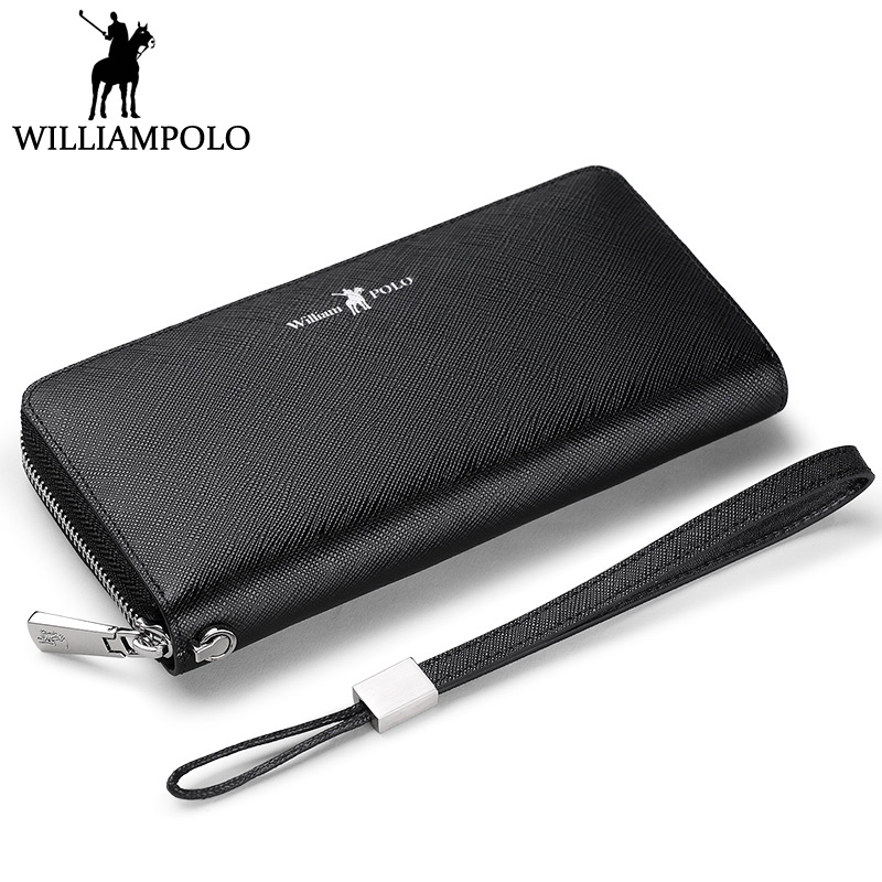 WILLIAMPOLO Men Wallet Genuine Leather Handy Clutch Bag Card Holder Coin Pocket Fashion Birthday Gift Car Key Zippy Wallet Phone williampolo 2017 card wallet men 10 card slots genuine leather button closure fashion long men wallet polo174