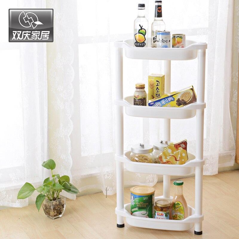 Koupelna Pořadatel Multifunkční Vyměnitelné plastové 4 vrstvy Roh skladovací regály Komoditní Stroage Rack Home Decor