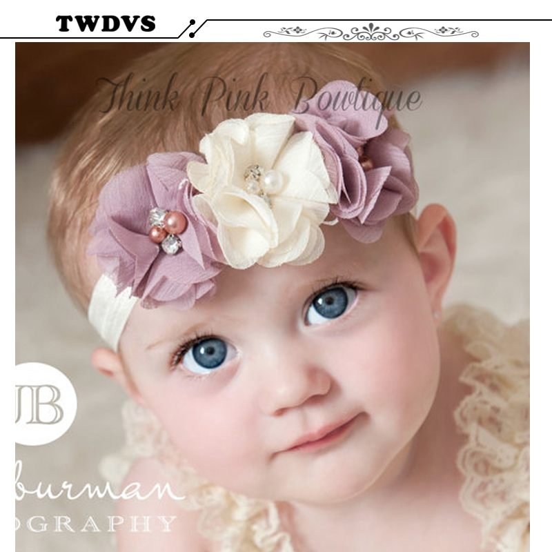 TWDVS Rhinestone Ribbon Pearl diamond Headwear Newborn Hairbs