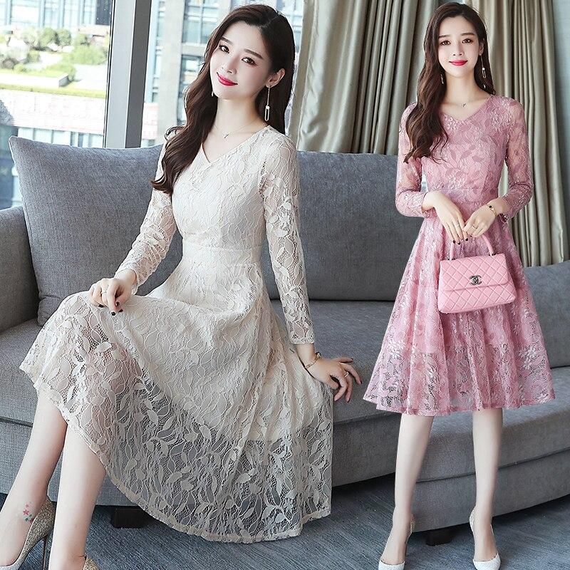 ea5563756c53b 2018 sonbahar kış yeni XL artı boyutu bağbozumu dantel Midi elbiseler kadın  zarif Bodycon pembe elbise parti uzun kollu pist vestidos
