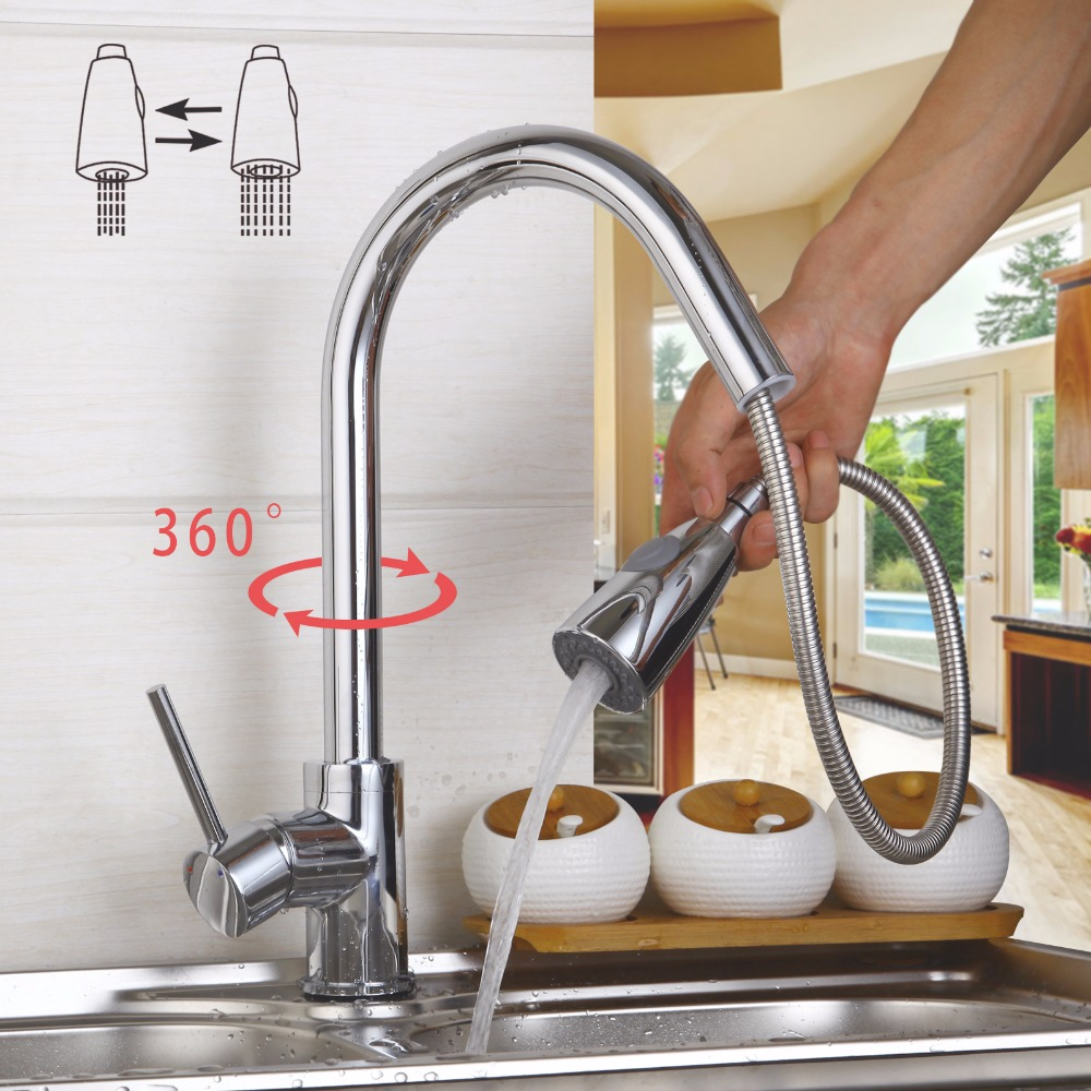 360 Swivel Stream Pull Out Spout Contemporary Kitchen Sink Faucet Polish Chrome Brass Deck Mounted Tap Hot & Cold Mixer Taps deck mount spray stream double handles chrome brass water kitchen faucet swivel spout pull out vessel sink mixer tap mf 278