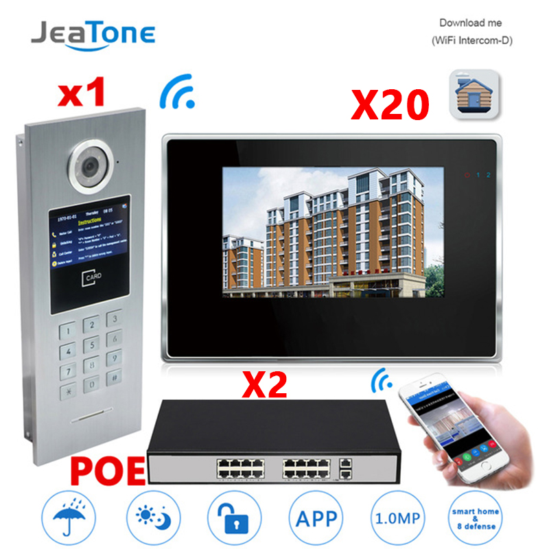7'' Touch Screen WIFI IP Video Door Phone Intercom+POE Switch 20 Floors Building Access Control System Support Password/IC Card