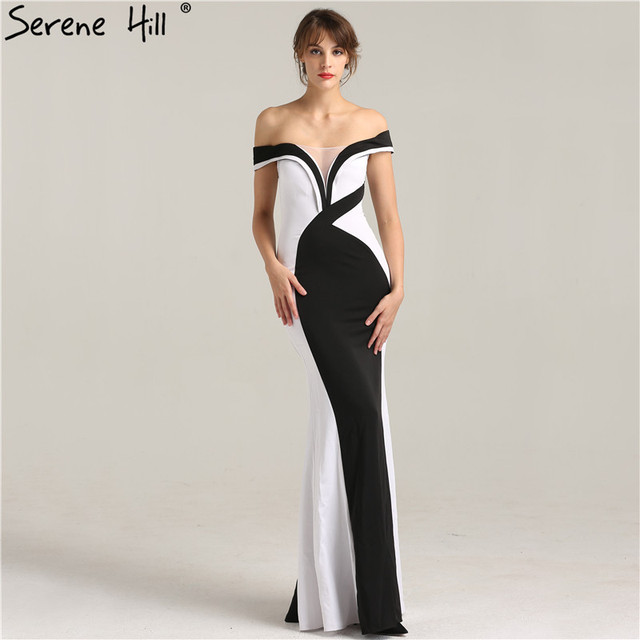 d7f0684d6a72 Elegant Black and White Off Shoulder Mermaid Evening Dresses 2019 New  Design Floor Length Party Gown Robe De Soiree BLA6266