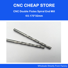 10pcs 3.175*32mm(CED*CEL) Carbide Two Flute Spiral Bits,CNC Machine Wood Cutter Knife,Woodworking Milling Engraving Machine Tool