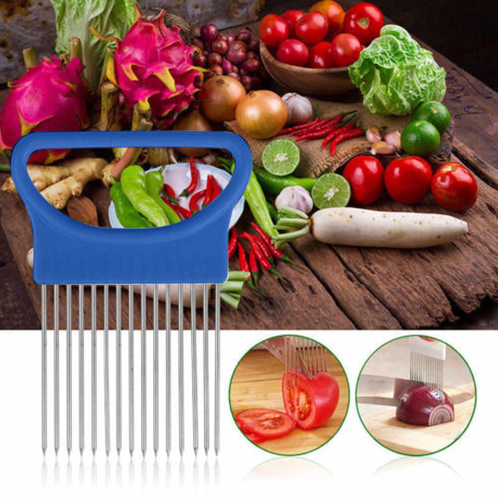 Tomate cebola legumes slicer suporte de ajuda de corte guia cortador garfo seguro cozinha gadgets legumes ferramentas de corte # xtn