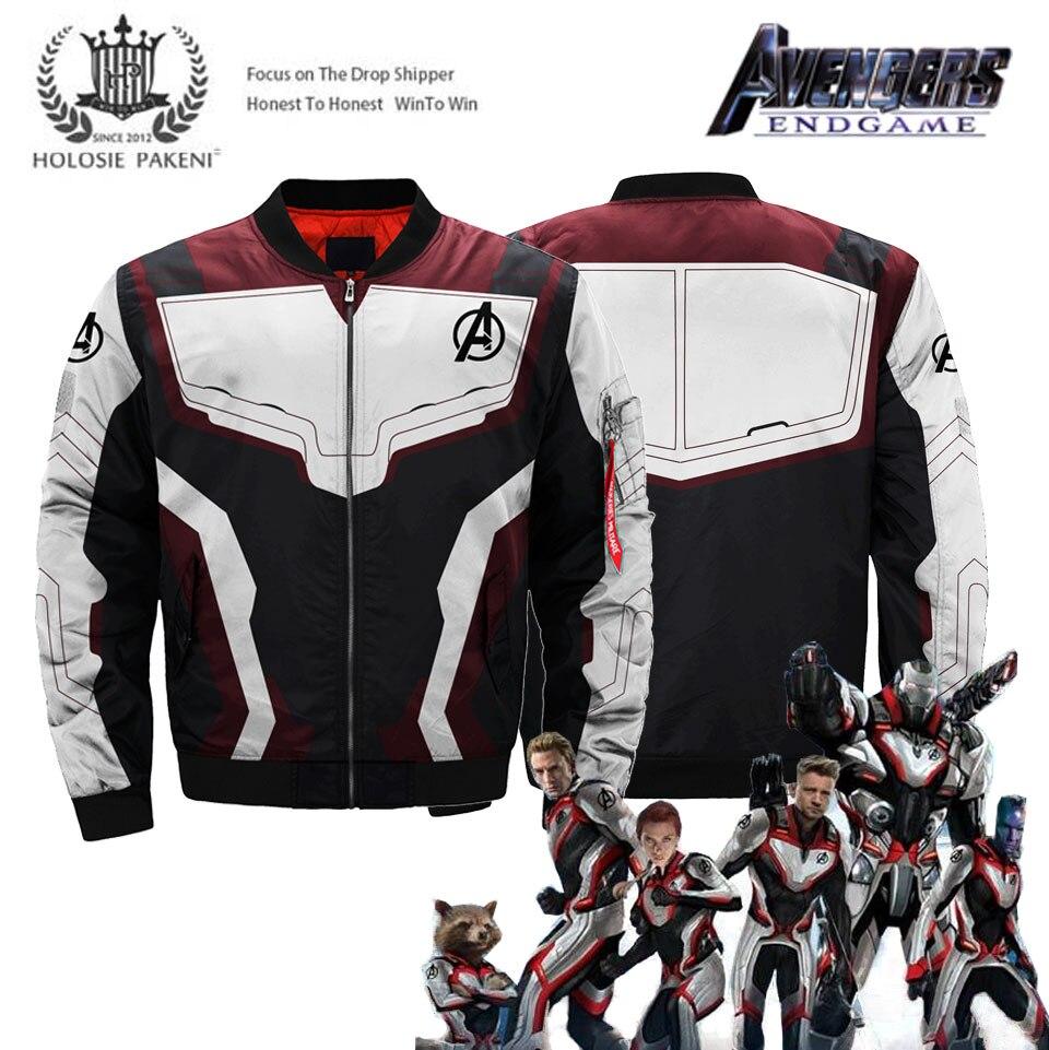 Avengers Endgame veste royaume quantique super-héros Captain America à capuche pleine impression blouson aviateur Streetwear vol MA-1 veste